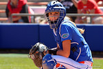 Florida Gators catcher Aubree Munro looks to the dugout for the pitch call as the #1 ranked Florida Gators softball team defeats the Illinois State Redbords 11-1 at Katie Seashole Pressly Softball Stadium.  March 6th, 2016. Gator Country photo by David Bowie.