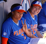 Florida Gators infielder Kelsey Stewart and Florida Gators first baseman Janell Wheaton pose for the camera as the #1 ranked Florida Gators softball team defeats the Illinois State Redbords 11-1 at Katie Seashole Pressly Softball Stadium.  March 6th, 2016. Gator Country photo by David Bowie.