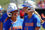 Florida Gators infielder Kelsey Stewart and Florida Gators catcher Aubree Munro having fun as the #1 ranked Florida Gators softball team defeats the Illinois State Redbords 11-1 at Katie Seashole Pressly Softball Stadium.  March 6th, 2016. Gator Country photo by David Bowie.