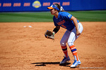 Florida Gators first baseman Janell Wheaton gets set for the pitch at first base as the #1 ranked Florida Gators softball team defeats the Illinois State Redbords 11-1 at Katie Seashole Pressly Softball Stadium.  March 6th, 2016. Gator Country photo by David Bowie.