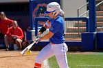 Florida Gators outfielder Chelsea Herndon makes contact with the ball as the #1 ranked Florida Gators softball team defeats the Illinois State Redbords 11-1 at Katie Seashole Pressly Softball Stadium.  March 6th, 2016. Gator Country photo by David Bowie.