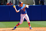 Florida Gators second baseman Nicole DeWitt throws to first base as the #1 ranked Florida Gators softball team defeats the Illinois State Redbords 11-1 at Katie Seashole Pressly Softball Stadium.  March 6th, 2016. Gator Country photo by David Bowie.