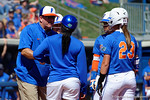 Florida Gators softball head coach Tim Walton comes out to coach up his team as the #1 ranked Florida Gators softball team defeats the Illinois State Redbords 11-1 at Katie Seashole Pressly Softball Stadium.  March 6th, 2016. Gator Country photo by David Bowie.
