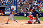 Florida Gators outfielder Chelsea Herndon swinging as the #1 ranked Florida Gators softball team defeats the Illinois State Redbords 11-1 at Katie Seashole Pressly Softball Stadium.  March 6th, 2016. Gator Country photo by David Bowie.