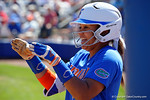 Florida Gators infielder Kelsey Stewart having fun with Florida Gators outfielder Kirsti Merritt who is on third base as the #1 ranked Florida Gators softball team defeats the Illinois State Redbords 11-1 at Katie Seashole Pressly Softball Stadium.  March 6th, 2016. Gator Country photo by David Bowie.