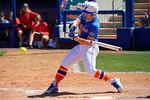 Florida Gators outfielder Amanda Lorenz singles as the #1 ranked Florida Gators softball team defeats the Illinois State Redbords 11-1 at Katie Seashole Pressly Softball Stadium.  March 6th, 2016. Gator Country photo by David Bowie.