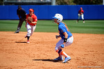 Florida Gators outfielder Justine McLean leads off first base as the #1 ranked Florida Gators softball team defeats the Illinois State Redbords 11-1 at Katie Seashole Pressly Softball Stadium.  March 6th, 2016. Gator Country photo by David Bowie.