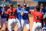 Florida Gators first baseman Kayli Kvistad and the Gators shake hands with the Redbirds as the #1 ranked Florida Gators softball team defeats the Illinois State Redbords 11-1 at Katie Seashole Pressly Softball Stadium.  March 6th, 2016. Gator Country photo by David Bowie.
