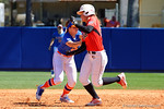 Florida Gators second baseman Nicole DeWitt tags out an Illinois State runner as they run for second as the #1 ranked Florida Gators softball team defeats the Illinois State Redbords 11-1 at Katie Seashole Pressly Softball Stadium.  March 6th, 2016. Gator Country photo by David Bowie.