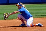 Florida Gators utility player Taylore Fuller fields a ground ball as the #1 ranked Florida Gators softball team defeats the Illinois State Redbords 11-1 at Katie Seashole Pressly Softball Stadium.  March 6th, 2016. Gator Country photo by David Bowie.