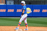 Florida Gators third baseman Taylore Fuller stands on second base as the #1 ranked Florida Gators softball team defeats the Illinois State Redbords 11-1 at Katie Seashole Pressly Softball Stadium.  March 6th, 2016. Gator Country photo by David Bowie.