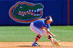 Florida Gators second baseman Nicole DeWitt fields a ground ball as the #1 ranked Florida Gators softball team defeats the Illinois State Redbords 11-1 at Katie Seashole Pressly Softball Stadium.  March 6th, 2016. Gator Country photo by David Bowie.