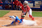 Florida Gators outfielder Kirsti Merritt slides into home under the tag as the #1 ranked Florida Gators softball team defeats the Illinois State Redbords 11-1 at Katie Seashole Pressly Softball Stadium.  March 6th, 2016. Gator Country photo by David Bowie.