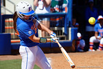 Florida Gators first baseman Janell Wheaton singles as the #1 ranked Florida Gators softball team defeats the Illinois State Redbords 11-1 at Katie Seashole Pressly Softball Stadium.  March 6th, 2016. Gator Country photo by David Bowie.