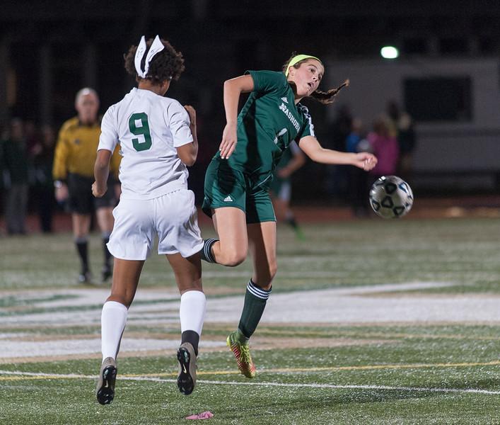 Wachusett's Isabelle Silo (9) battles Nashoba's Abby McNulty during the Div I Soccer Championship Game. Nashoba won on PKs. SENTINEL & ENTERPRISE / Jim Marabello