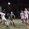 Katie Piccioli of Nashoba heads the ball towards the Wachusett net during the Div I Soccer Final. Nashoba prevailed in PKs. SENTINEL & ENTERPRISE / Jim Marabello