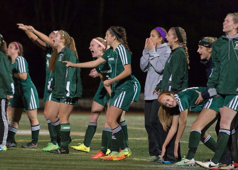 Nashoba players celebrate after a Penalty Kick goal. Nashoba won to become Div I Soccer Champions. SENTINEL & ENTERPRISE / Jim Marabello