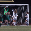 Nashoba Keeper Theresa Don makes a stop off a Wachusett free kick in the Div I Soccer Final. Nashoba prevailed in PKs. SENTINEL & ENTERPRISE / Jim Marabello