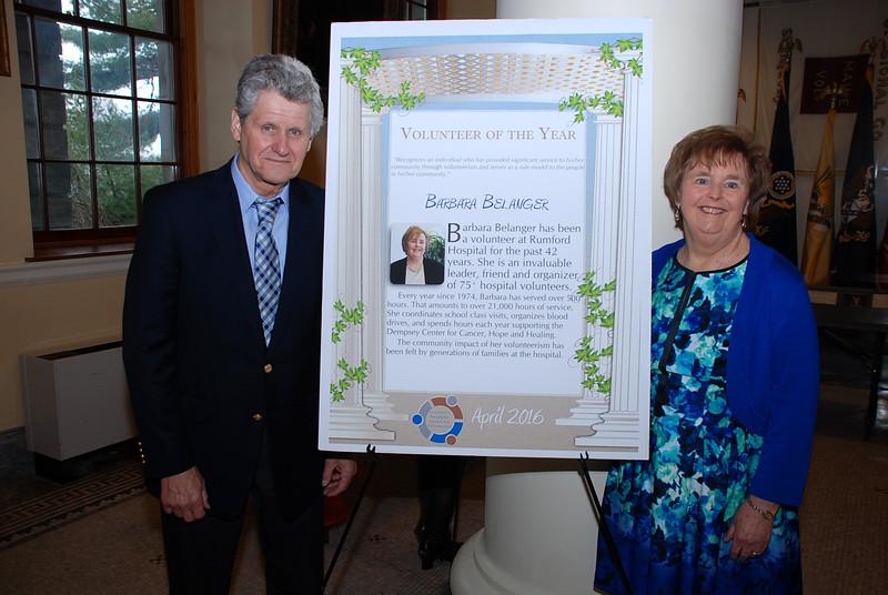 Mr. Belanger with Barbara Belanger, Volunteer of the Year
