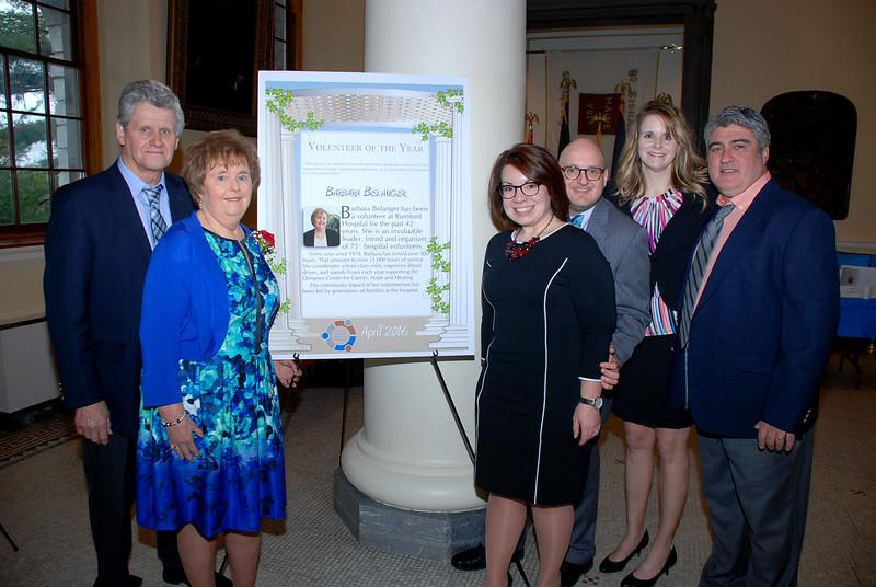 Mr. Belanger, Barbara Belanger (Volunteer of the Year), Leah and Matthew Belanger (son), Michelle Curtis (daughter) and Jamie Curtis