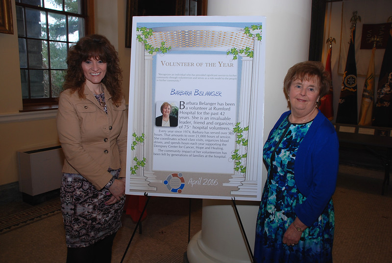Susan Hedrich, Central Maine Medical Center, and Barbara Belanger of Rumford, Volunteer of the Year