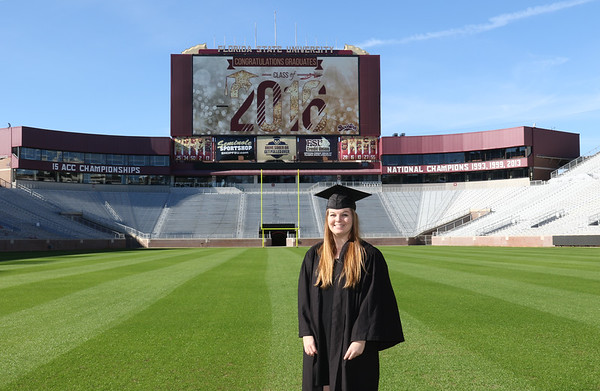 Cap & Gown Photos: Inside Doak Campbell Stadium.  Provided by Seminole Boosters as a gift for the graduating Student Boosters.