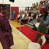 MARK ROBARGE - mrobarge@troyrecord.com Terrell McMahon strikes a pose after receiving his diploma during Lansingburgh High School's 114th commencement Friday night.