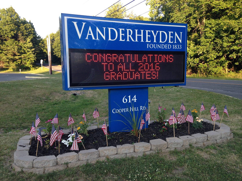 COURTESY VANDERHEYDEN HALL Vanderheyden Hall hosted graduation for seniors and a moving-up ceremony for eighth-graders Friday at the Richard A. Desrochers Educational Center on Vanderheyden's main campus in Wynantskill