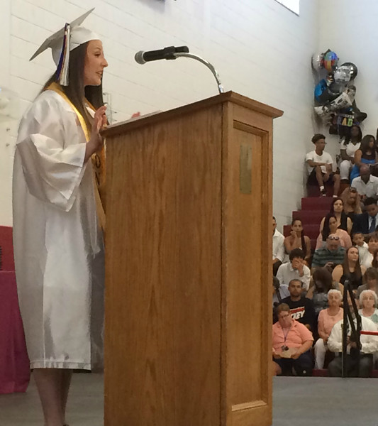 MARK ROBARGE - mrobarge@troyrecord.com Salutatorian Kristen Jordan gives her speech during Lansingburgh High School's 114th commencement Friday night.