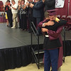 MARK ROBARGE - mrobarge@troyrecord.com A tearful Cameron Bristol hugs his brother, Parker, a U.S. Marine stationed in Japan who flew home to see Cameron graduate with the Lansingburgh High School Class of 2016 Friday night in the school's gymnasium.
