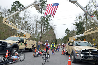 Participants ride 65 miles from Greenville, Al. to Gulfport, Ms., during the 2016 UnitedHealthcare Gulf Coast Challenge.  As a 501(c)(3) organization, Ride 2 Recovery restores hope and purpose for injured active duty service members, veterans, first responders and their families by  improving their health and wellness through individual and group cycling.