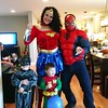 Liam age 3 and Colin age 1 from Chelmsford with  Wonder Woman (Coco) and Spider Man (Ian)