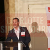 Cameron Wiebe, general manager of the Champions Retreat, makes remarks at the Heavy Hitters of Commercial Real Estate Awards.