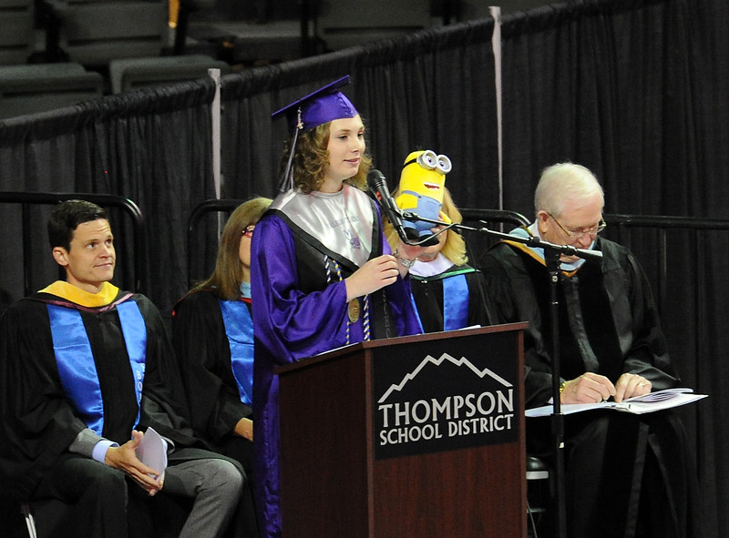 Mountain View High School valedictorian Alice Meuller speaks to fellow graduates during their commencement ceremony Saturday, May 28, 2016, at The Ranch in Loveland. (Photo by Jenny Sparks/Loveland Reporter-Herald)