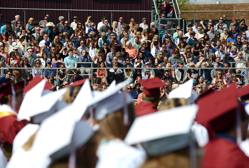 Family and friends of graduates attend the Berthoud High School graduation Saturday at at Max Marr Stadium in Berthoud.