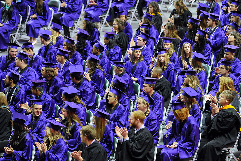 Mountain View High School graduates wait to collect their dimplomas during their graduation ceremony Saturday, May 28, 2016, at The Ranch in Loveland. (Photo by Jenny Sparks/Loveland Reporter-Herald)