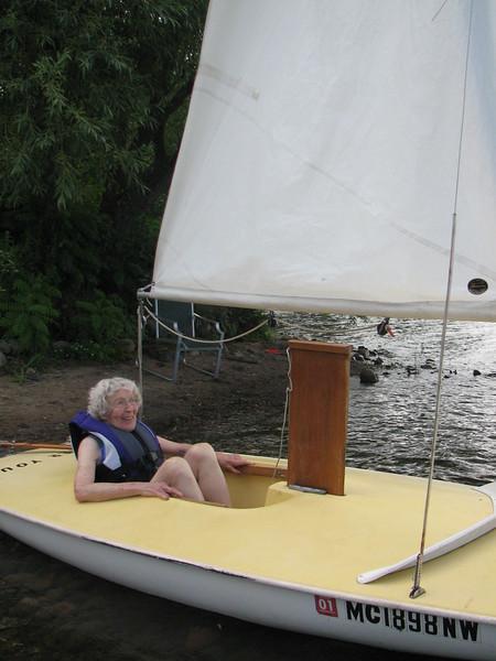 Mom at 90 in sailboat
