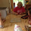 Sally, Barbara and Sandra play a rousing game of Scrabble