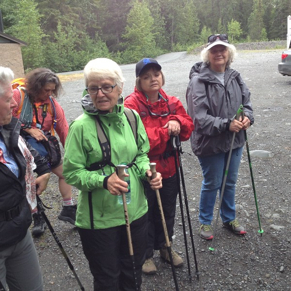 Resurrection trailhead. Sally, Sandra, Paula, Brenda, Barbara. The challenges Brenda faced getting to Hope show on her face. Time for some nice relaxation.