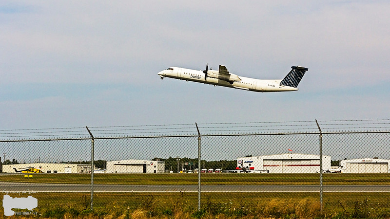 Porter Airlines PD254 Q400 off runway 23 going to Ottawa YOW
