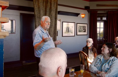 Bernie giving us the history of the Moss Beach Distillery