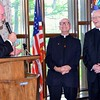Fr. Ed congratulates the 60-year jubilarians: Fr. John and Fr. Mike. The two began in the seminary together when they were 13 years old!