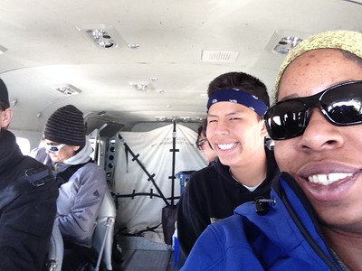 Plane selfies are an integral part of any Winter Bear tour. Photo by Jasmine Stokes