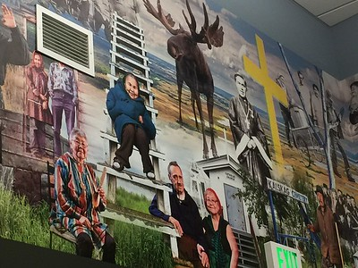 A beautiful mural by Kevin G. Smith showcasing Kalskag culture.  We saw one of these pieces in Ruby as well!