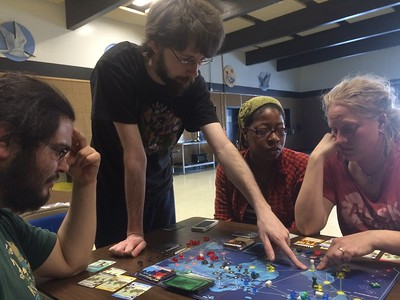 PANDEMIC was again a popular board game for our evenings in schools.