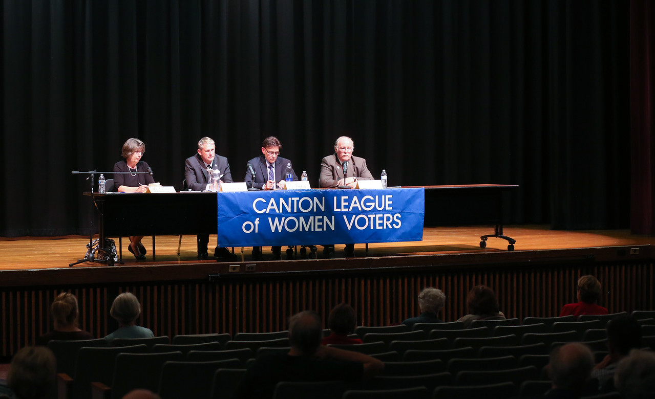 The Canton League of Women Voters held a Candidates' Forum on Oct. 18, 2016. From left are moderator Meg Gaines, State Sen. Kevin Witkos, state senate challenger David Peña and state Rep. Tim LeGeyt. <br /> Photo by John Fitts