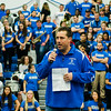 Football coach Dave Palazzi speaks during the annual Thanksgiving pep rally at Leominster High on Tuesday morning. SENTINEL & ENTERPRISE / Ashley Green