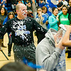 After his first pie in the face, Dr. Christopher Lord is covered in the remnants of another teacher's pie during the annual Thanksgiving pep rally at Leominster High on Tuesday morning. SENTINEL & ENTERPRISE / Ashley Green