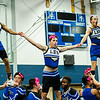 Male students don cheerleading uniforms and perform a routine during the annual Thanksgiving pep rally at Leominster High on Tuesday morning. SENTINEL & ENTERPRISE / Ashley Green