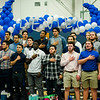 Football players stand for the National Anthem during the annual Thanksgiving pep rally at Leominster High on Tuesday morning. SENTINEL & ENTERPRISE / Ashley Green